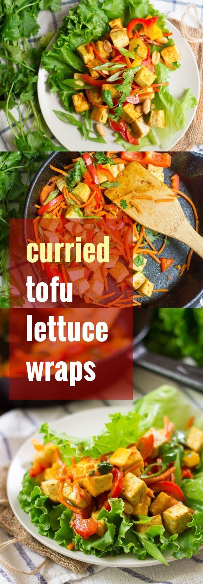 Stir-Fried Veggie & Curried Tofu Lettuce Wraps