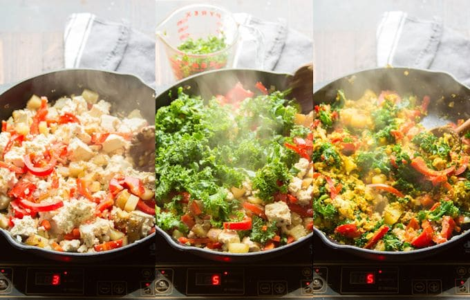 Collage Showing Steps 4-6 for Making Tofu Scramble: Add Tofu, Add Kale and Add Seasonings
