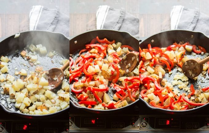 Collage Showing Steps 1-3 for Making Tofu Scramble: Sauté Onion and Potato, Add Bell Peppers, and Add Garlic