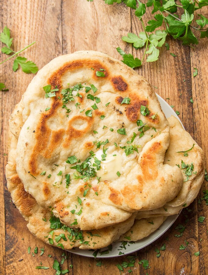 Vegan Naan on a Wooden Table