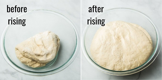 Side By Side Images Showing Vegan Naan Dough Before and After Rising