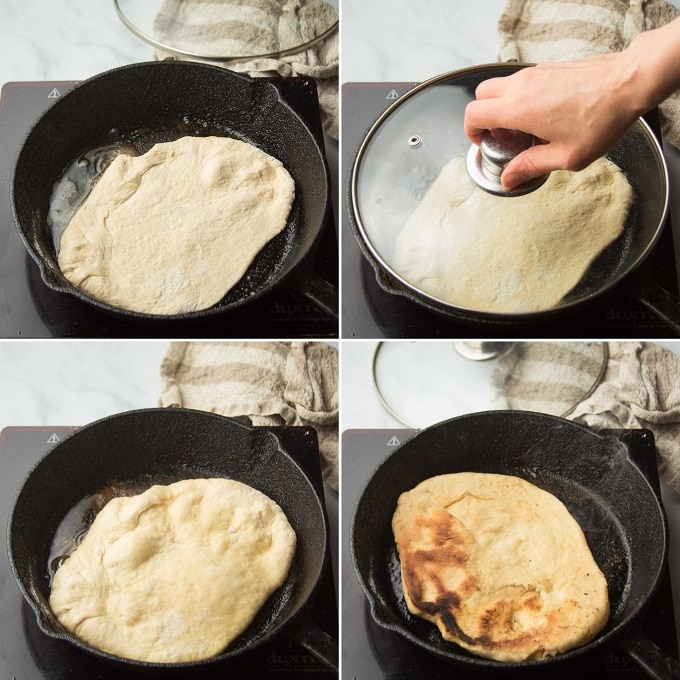 Collage Showing Four Stages of Cooking Vegan Naan