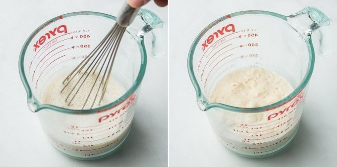 Collage Showing Steps 1 and 2 for Making Vegan Naan Dough: Whisk Yeast into Milk, and Let it Sit