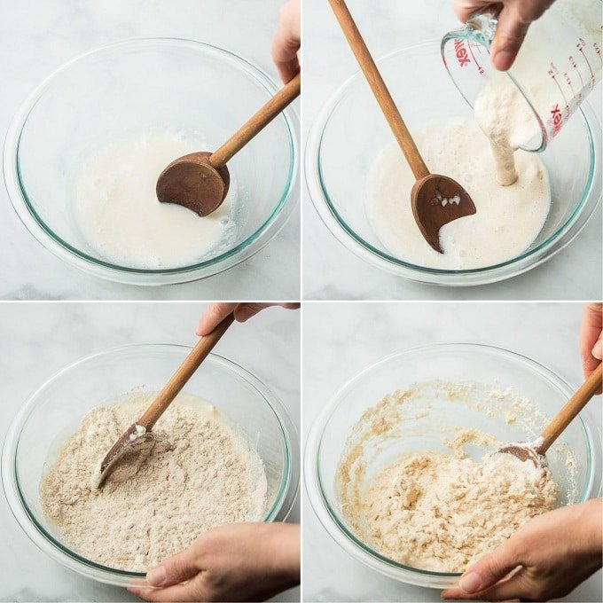 Collage Showing Steps 3-6 for Making Vegan Naan Dough: Mix Milk and Vinegar, Add Yeast and Milk, Add Flour, and Stir
