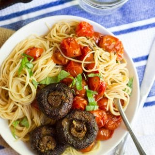 Capellini with Spicy Cherry Tomato Sauce & Blackened Mushrooms