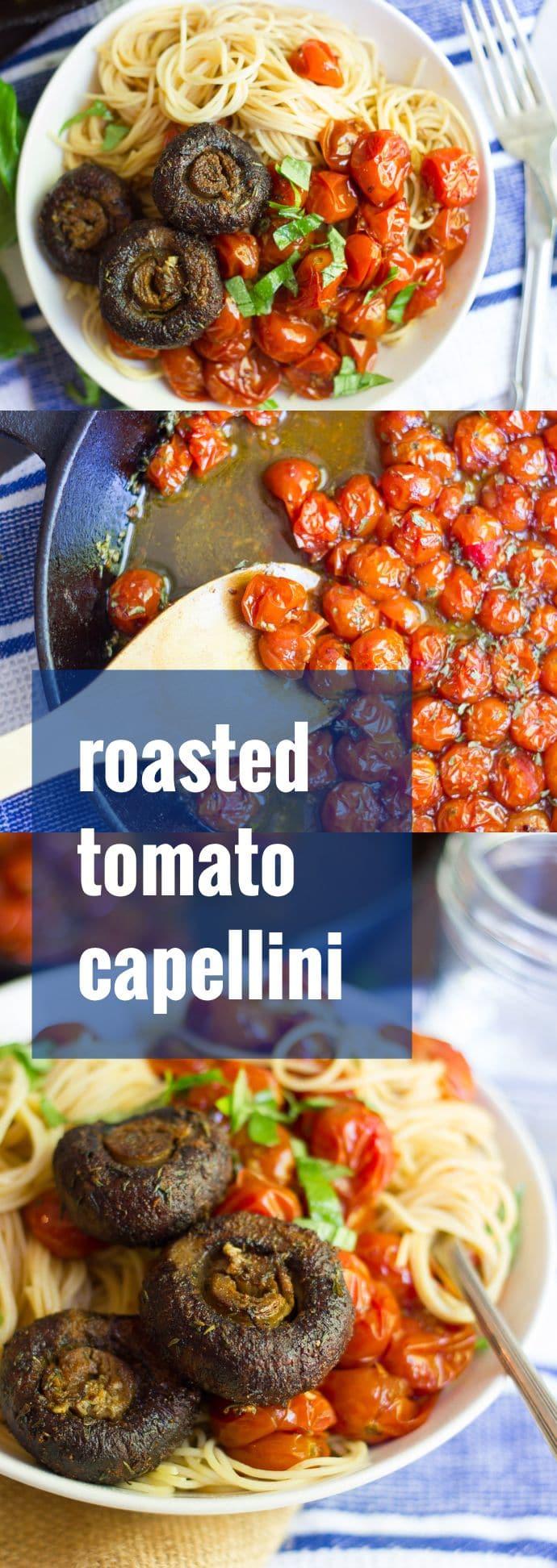 Capellini with Spicy Cherry Tomato Sauce & Blackened Mushrooms