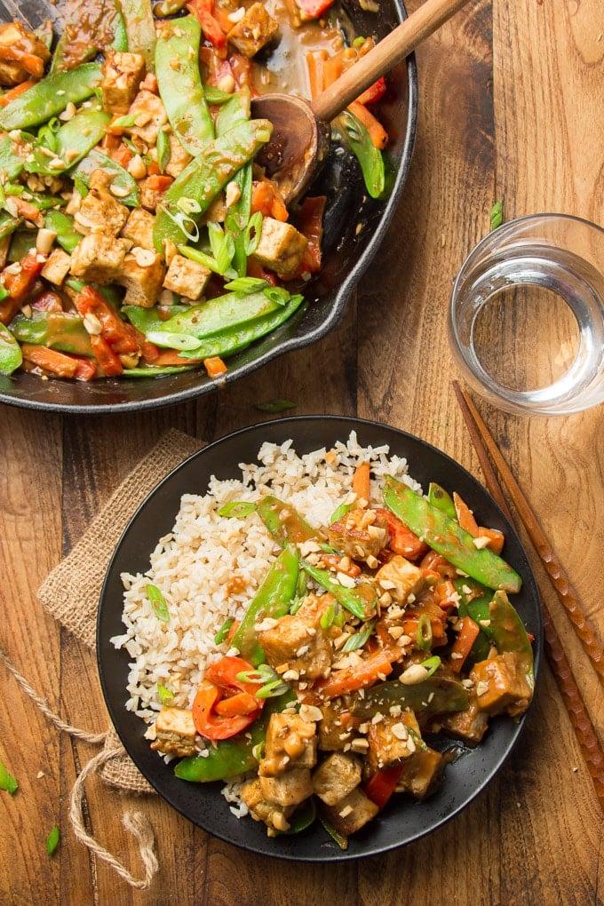 Rainbow Peanut Butter Tofu Stir Fry Connoisseurus Veg