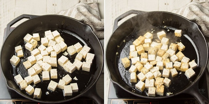 Side By Side Images Showing Different Stages of Pan-Frying Tofu