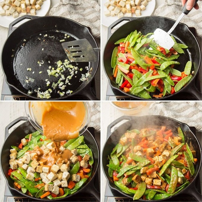 Collage Showing Steps for Cooking Peanut Butter Tofu Stir-Fry: Cook Scallions, Stir-Fry Veggies, Add Tofu and Sauce, and Cook Until Heated
