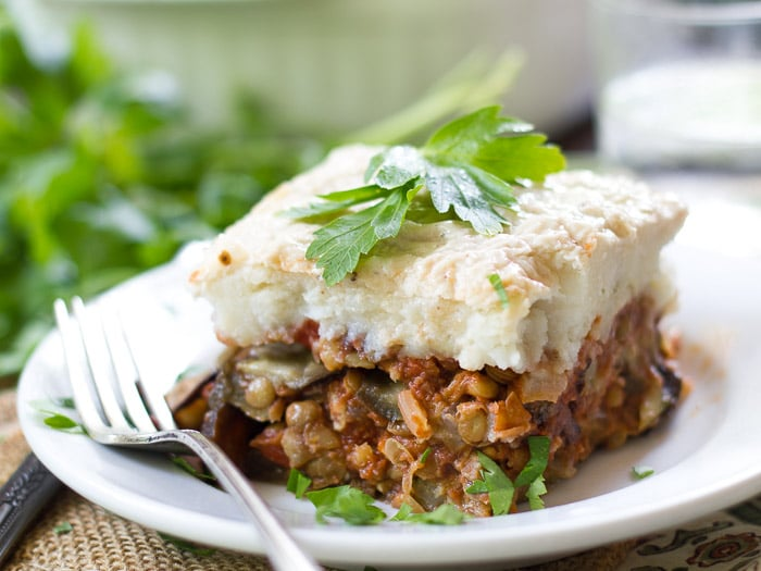 Close-Up of Vegan Eggplant Moussaka on a Plate