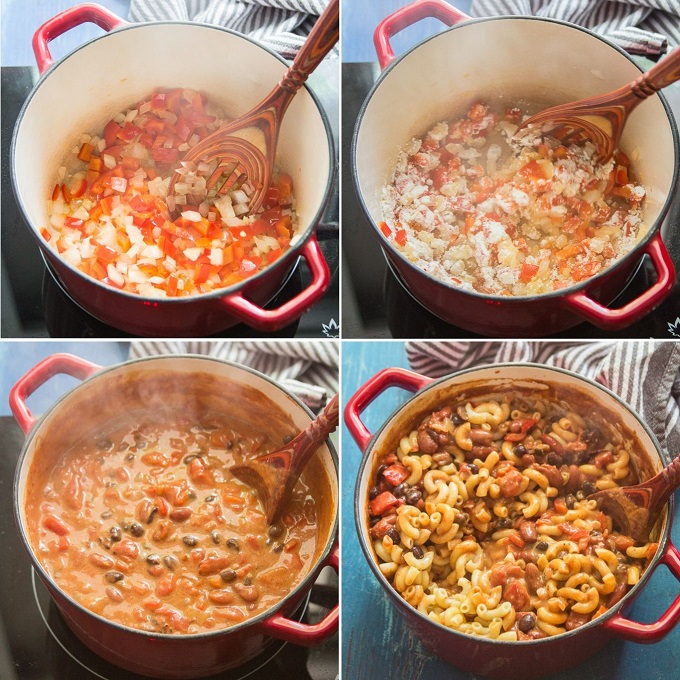 Collage Showing Steps for Making Vegan Chili Mac & Cheese: Saute Veggies, Add Flour, Add Coconut Milk, Beans, Tomatoes & Spices, Simmer and Stir in Pasta