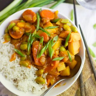Bowl of Vegan Japanese Curry and Rice Topped with Scallions