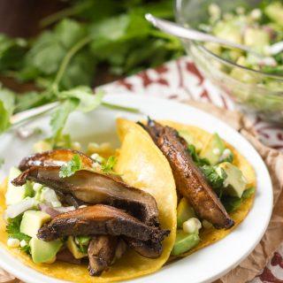Beer-Marinated Portobello Tacos with Avocado Corn Salsa