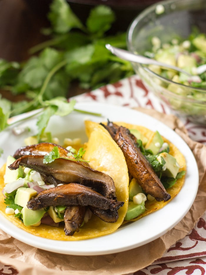 Beer-Marinated Portobello Tacos with Avocado Corn Salsa