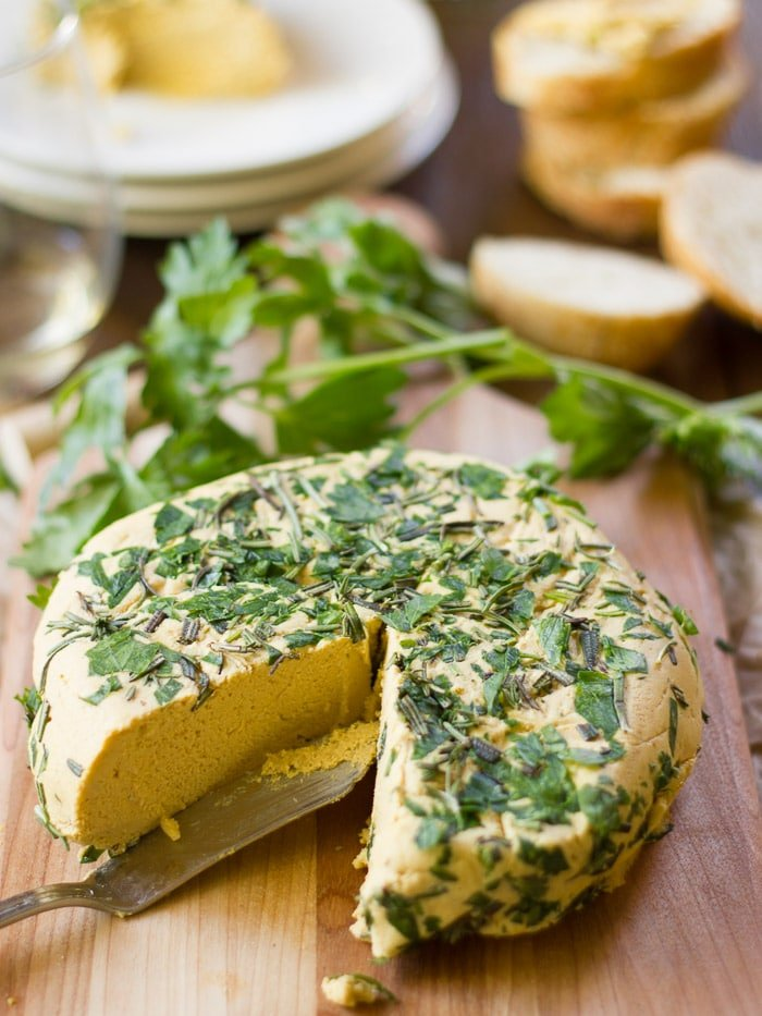Herb-Crusted Smoky Pumpkin Vegan Cheddar Wheel