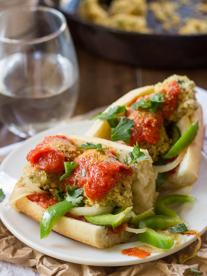 Quinoa Meatball Sub with Grilled Peppers + Onions