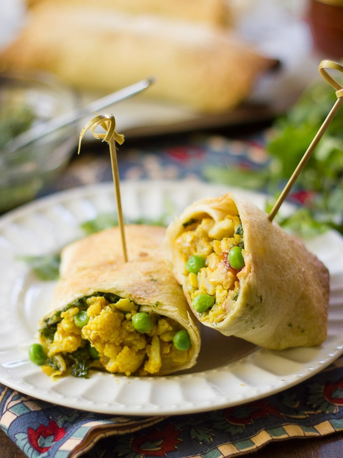 Cauliflower & White Bean Samosa Burritos