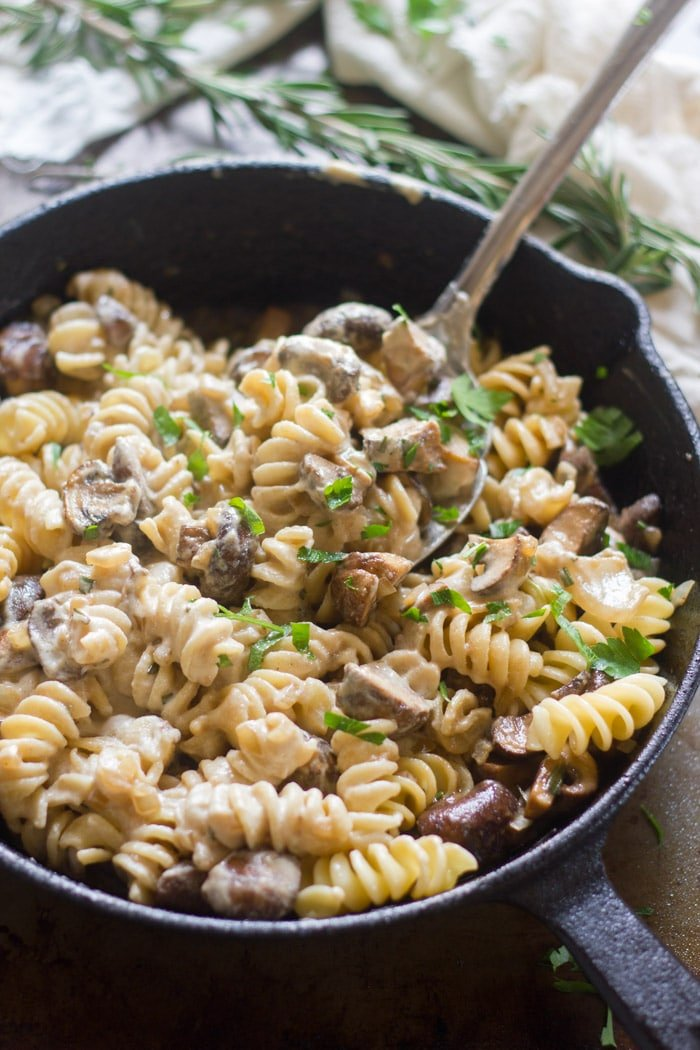 Vegan Mushroom Stroganoff in a Skillet with Serving Spoon