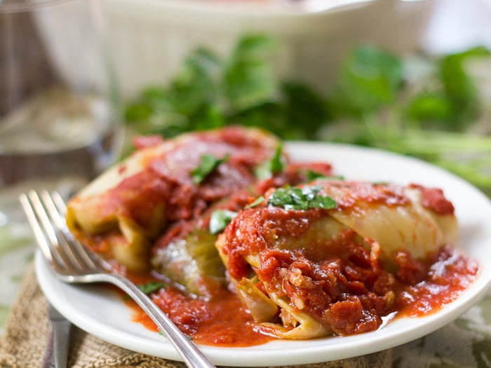 Vegan Stuffed Cabbage Rolls on a Plate with Fork