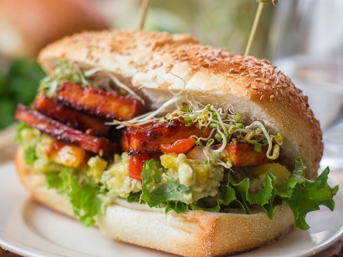 Chipotle Baked Tofu Sandwiches with Pineapple Guacamole ...