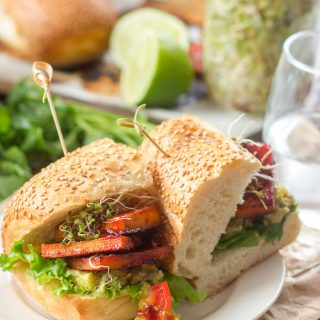 Chipotle Baked Tofu Sandwiches with Pineapple Guacamole