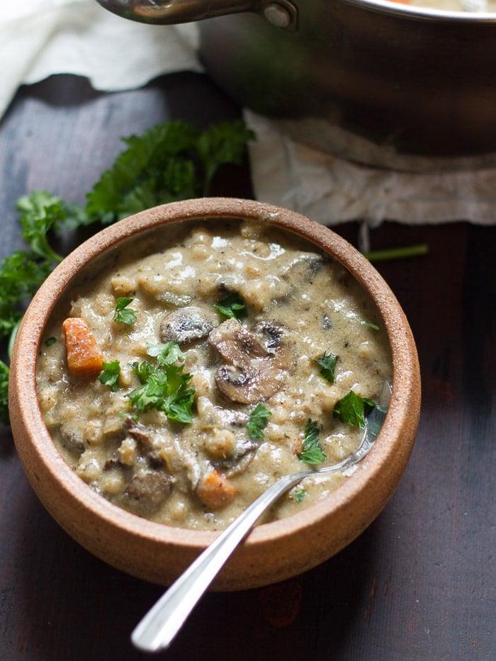 Creamy Vegan Mushroom Barley Soup