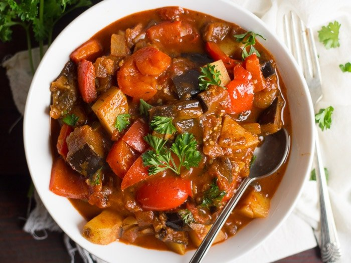 Overhead View of a Bowl of Vegan Eggplant Goulash