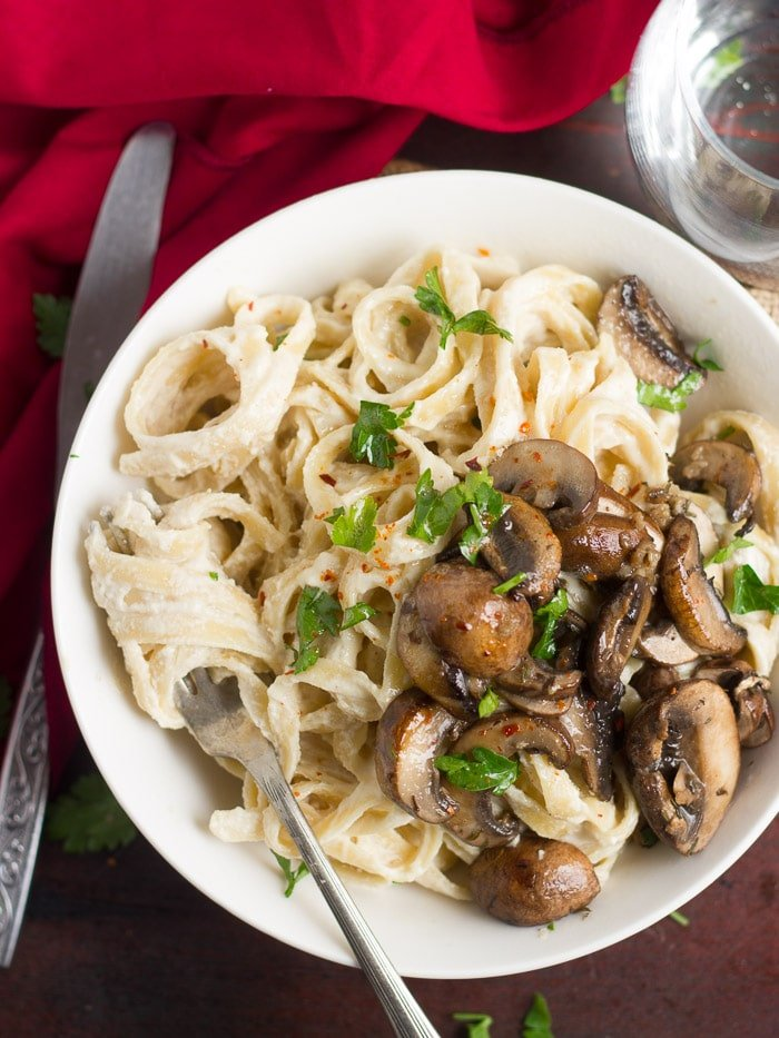 Roasted Garlic & Baby Portobello Vegan Fettuccine Alfredo