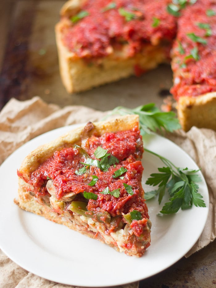 Loaded Vegan Deep Dish Pizza