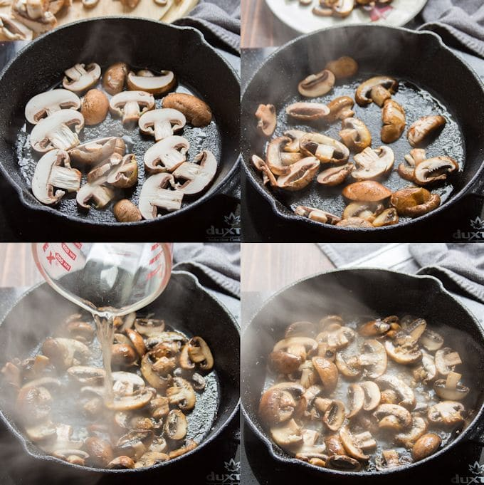 Collage Showing Steps For Cooking Mushrooms for Serving with Vegan Fettuccine Alfredo