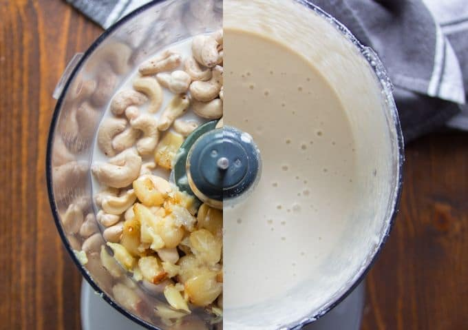 Collage Showing Ingredients for Vegan Alfredo Sauce in Food Processor Before and After Blending