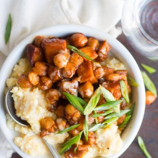 Barbecue Chickpea & Sweet Potato Polenta Bowls
