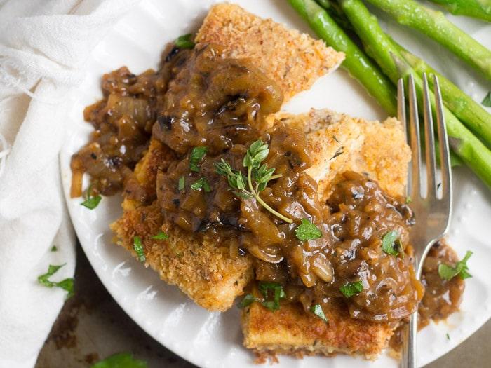 Crispy Tofu Steaks with Caramelized Onion Gravy