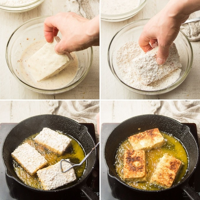 Collage Showing 4 Steps for Making Tofu Steaks, Dip Tofu in Batter, Dip Tofu in Breading, and Fry on Each Side
