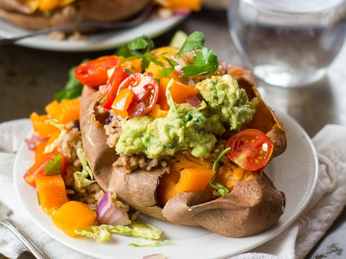 Burrito Stuffed Sweet Potatoes with Rustic Salsa