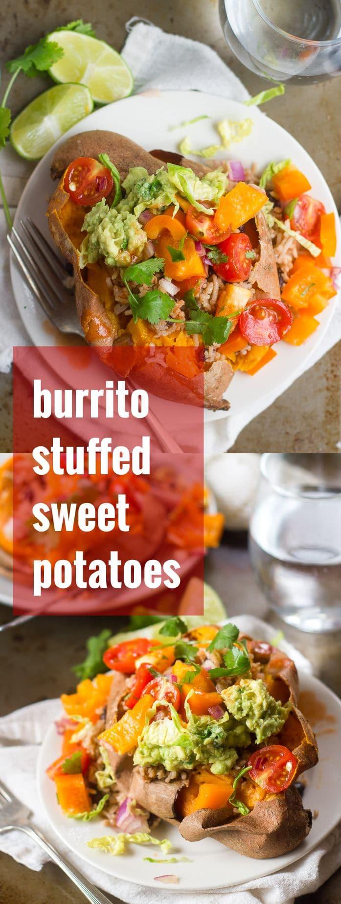 Burrito Stuffed Sweet Potatoes with Rustic Salsa