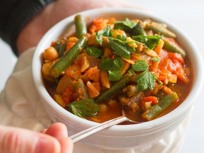 Lebanese Green Bean Stew with Chickpeas & Almonds (Loubieh)