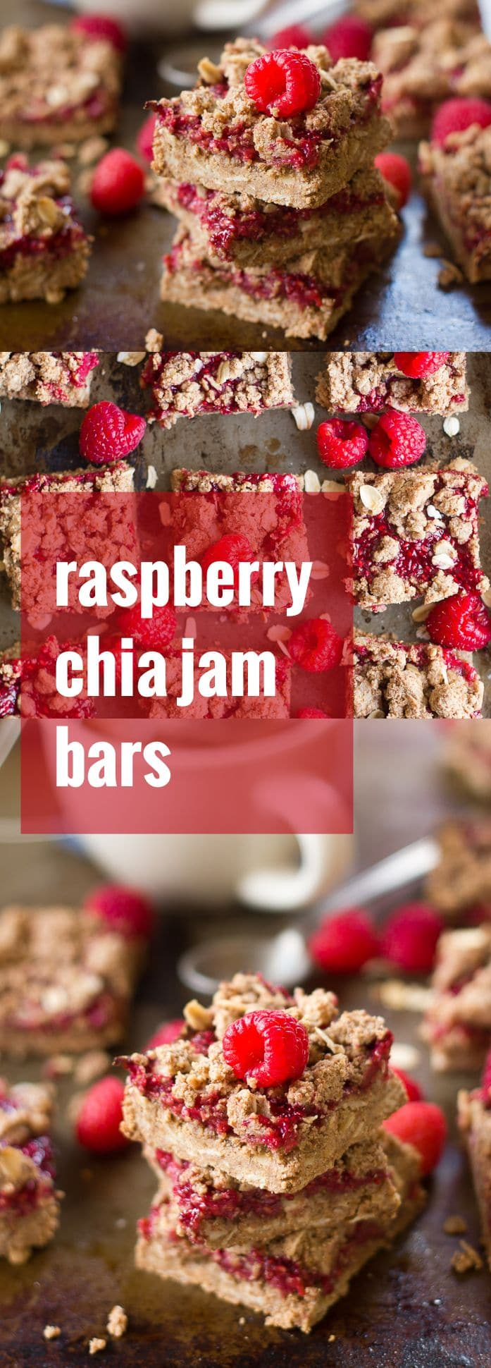 Almond Butter Raspberry Chia Jam Bars