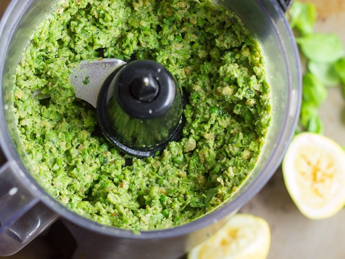 Food Processor Bowl Filled with Pea Pesto