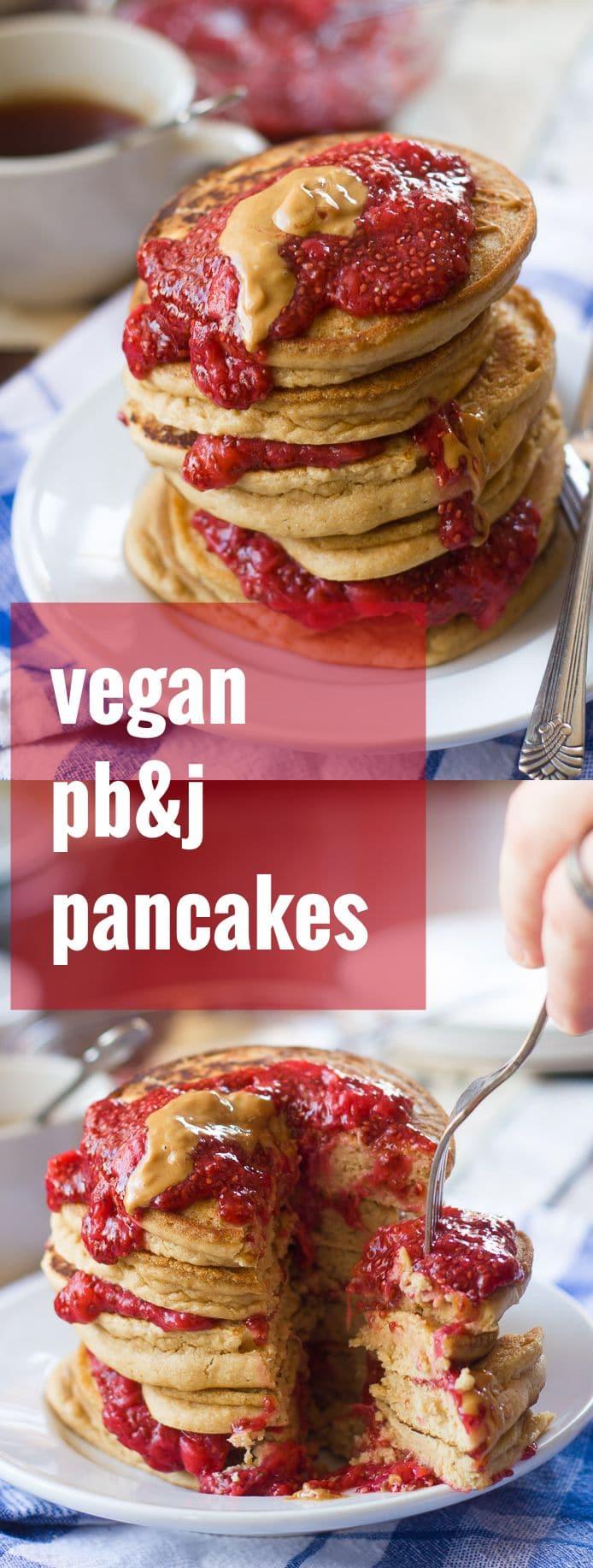 Vegan PB&J Pancakes