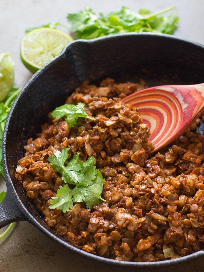 Vegan Lentil Walnut Taco Meat in a Skillet
