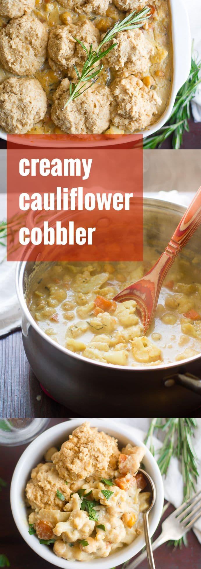Creamy Cauliflower Savory Vegan Cobbler