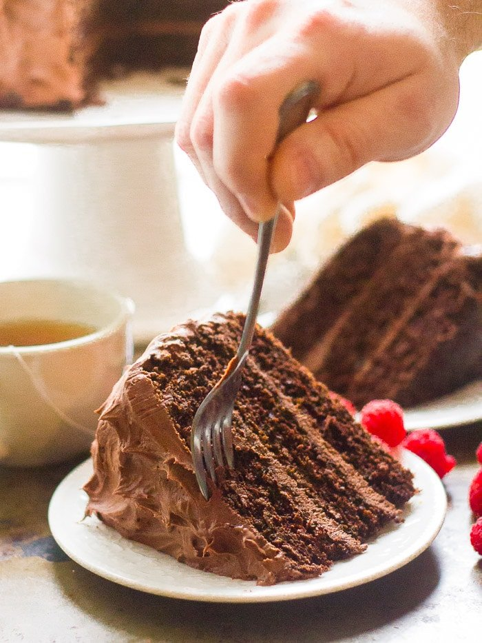 Hand With Fork Scooping out a Bit of Vegan Mocha Layer Cake