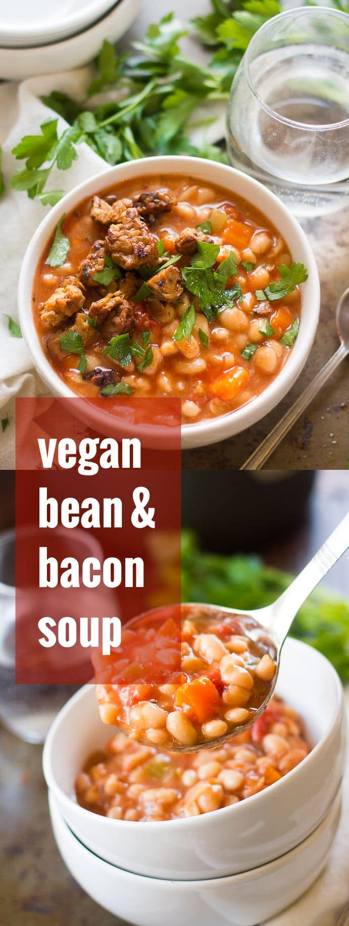 Slow Cooker Vegan Bean with Bacon Soup