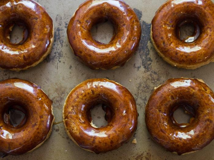 Salted Coconut Caramel Gazed Baked Doughnuts