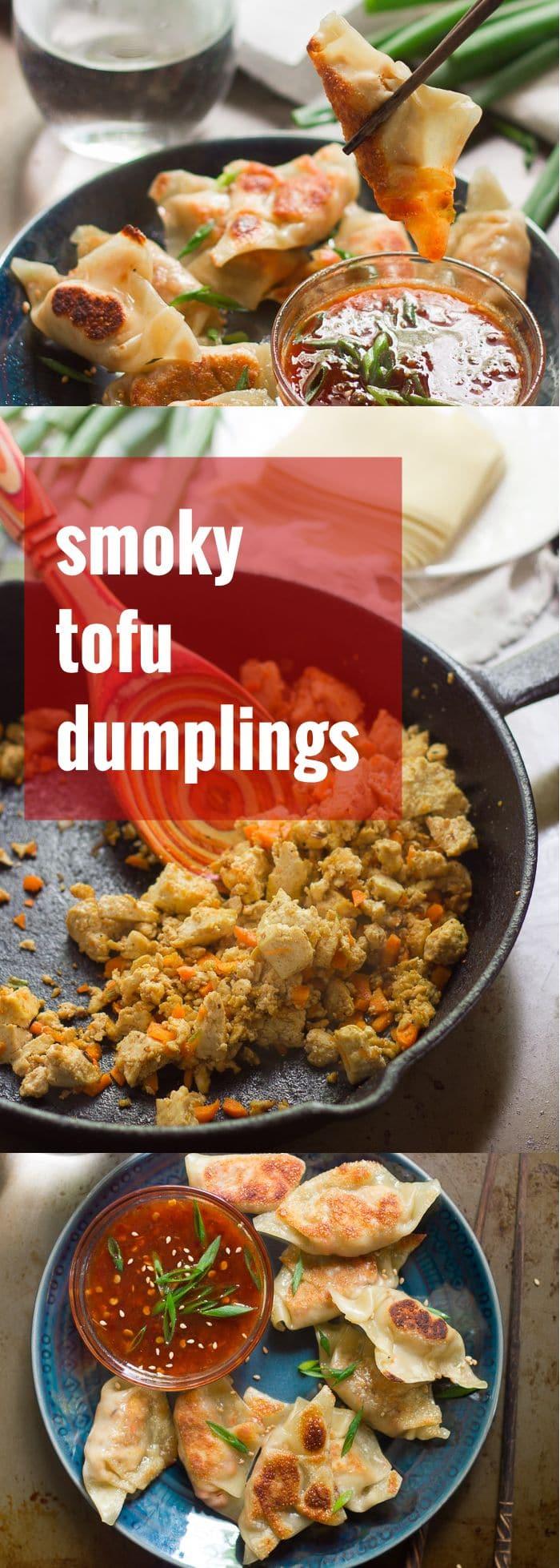 Smoky Tofu Dumplings with Sweet Chili Dipping Sauce