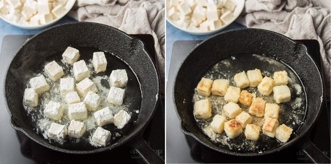 Side By Side Images Showing Two Stages of Frying Tofu