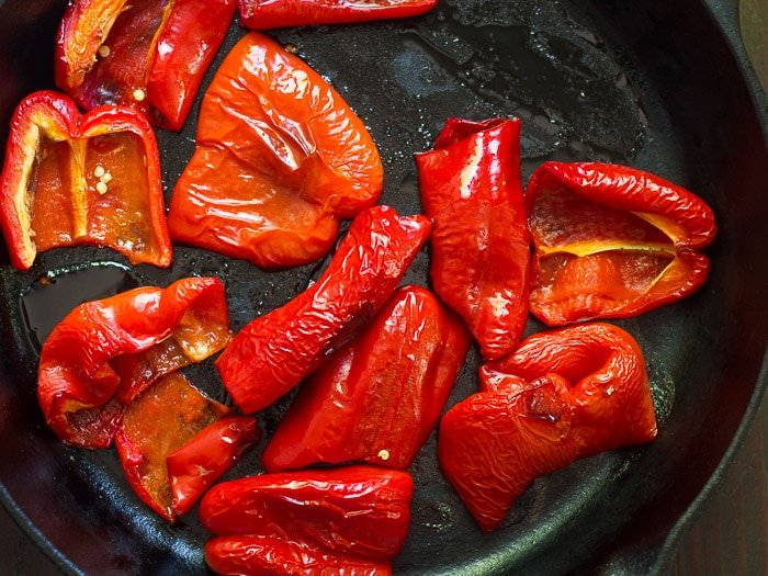 Red Bell Peppers in a Skillet Just After Roasting