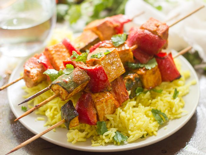 Close Up of a Plate of Mediterranean-Spiced Tofu Kebabs and Rice