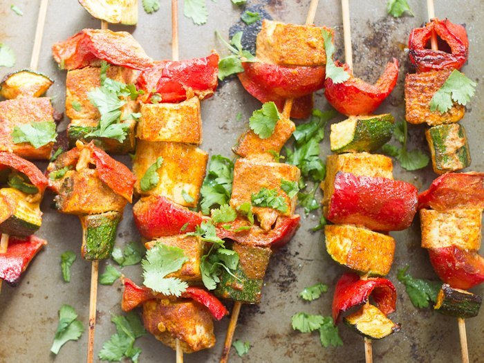 Mediterranean-Spiced Tofu Kebabs Arranged on a Baking Sheet